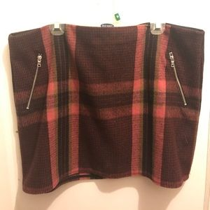 GAP Wool Mini Skirt - Maroon Plaid