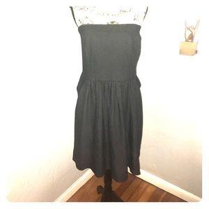 Black chambray strapless dress
