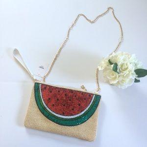 Handbags - [ Boutique ] Watermelon Sequin Clutch /Cross Body
