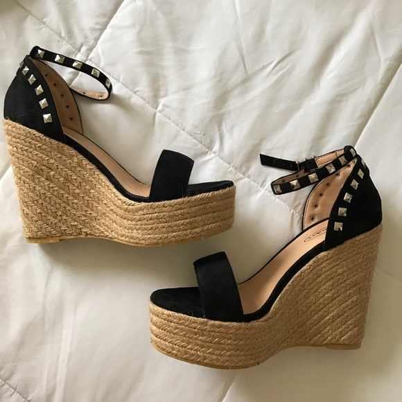 efbce7add50 New black studded espadrilles wedges size 5 38. M 598900e0f0928220990dfc1f
