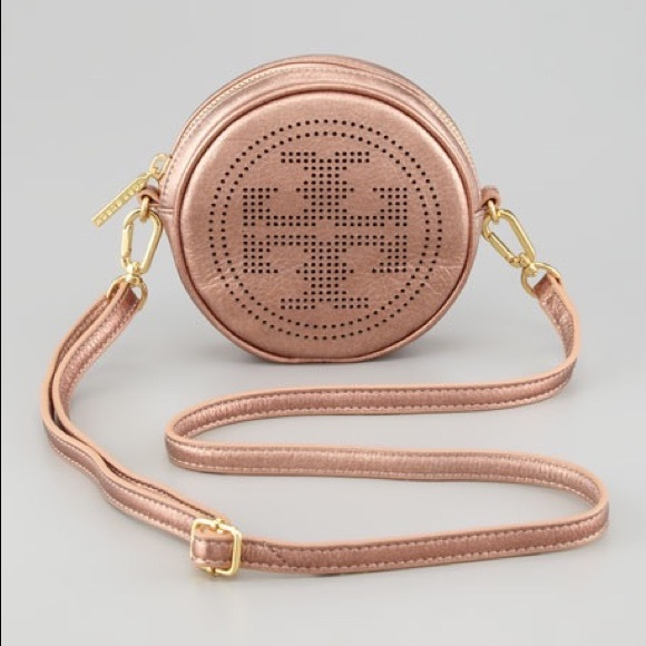 be765e38618f Tory Burch Metallic Rose Gold Logo Crossbody. M 598905359818293ca90def9e