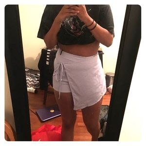 Misguided tie satin skort