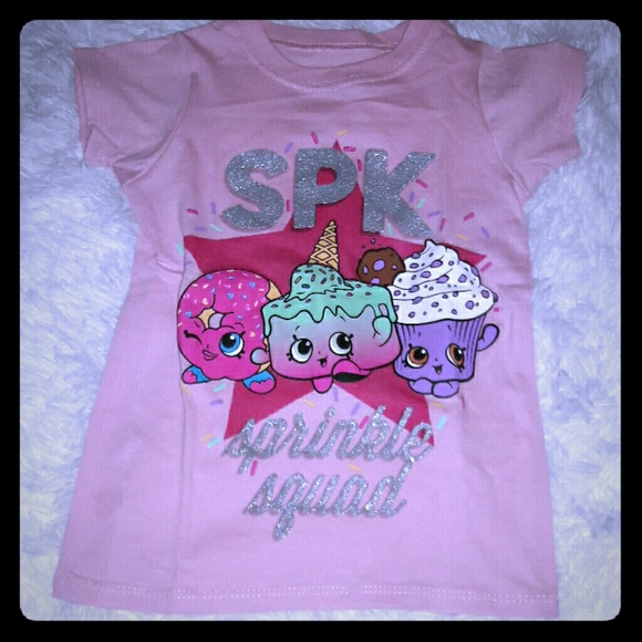 Shopkins Perfect Match Graphic Tee Girls Size 4 5 Tops Shirts Clothing Pink NWT