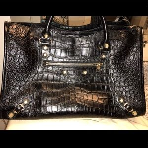 Balenciaga Bags - Balenciaga City croc embossed bag