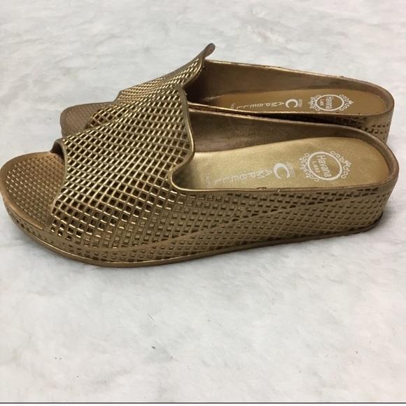 dc27109c3e88 Jeffrey Campbell Shoes - Jeffrey Campbell Fling gold jelly wedge sandal