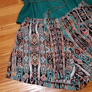 Lily White High Waisted Flowy Printed Shorts