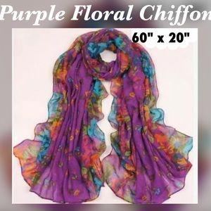 """Accessories - ✨Purple Floral Print Chiffon Scarf, 60"""" x 20"""""""