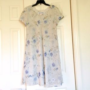 Vintage Short Sleeve Dress Floral Print w/Overlay