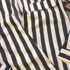 {zara} striped asymmetrical blouse