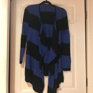 Blue and black striped cardigan.