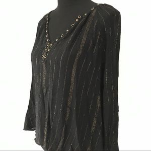 Rock and Republic black gold V-neck blouse