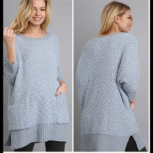 Sweaters - Steel Blue Sweater w/Pockets