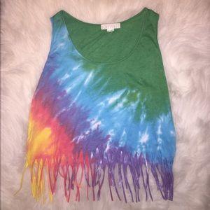 Rainbow fringe Crop Top