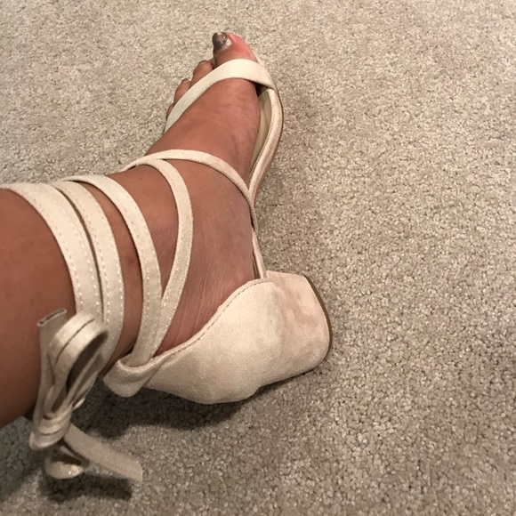 Allegra K Womens Cutout Heeled Lace-up Sandals