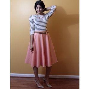 Asos Scuba Midi Skirt in Peach