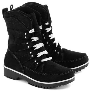 NEW Sorel Meadow Lace Black Suede Leather Boots