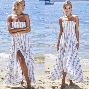 Dresses & Skirts - Stripe Strapless Slit Dress