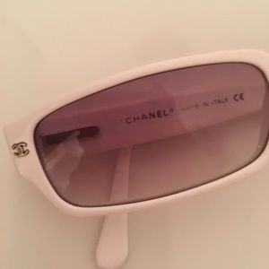 7215a5b6e3b Chanel Accessories - Chanel white QUILTED sunglasses with rhinestones
