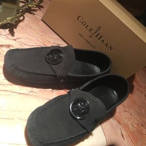 Cole Haan Loafers, new in box, black suade