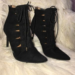Shoes - Pointy Lace-up Ankle Bootie Heel - Fashion Nova