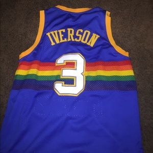 hot sale online 9faf9 09283 UA Allen Iverson retro rainbow Nuggets jersey