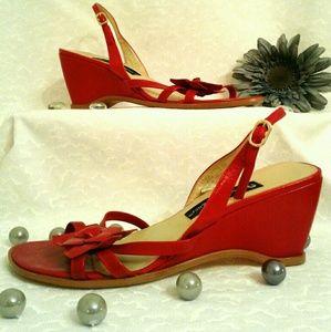 Red Sling black sandal
