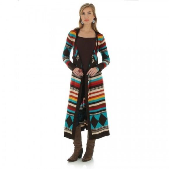 506cf0d774 Wrangler Sweater Aztec Long Knit Duster. M 598949efa88e7df5e60f967a