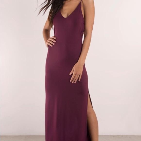 3f956b1fc0b Tobi Timeless Strappy Back Maxi Dress Wine Color