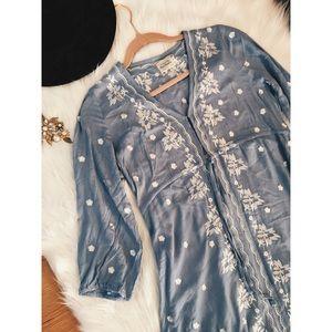 Free People Boho Embroidery Caftan Maxi Dress S