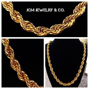 "Other - 14K Gold Plated 10MM x 30"" Rope Necklace"