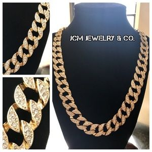 "Other - 14K Iced Out 30"" Gold Plated Cuban Necklace"