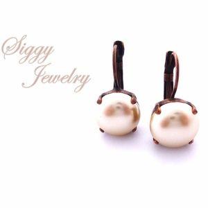 Cream Pearl Earrings, 12mm Drop Lever Backs