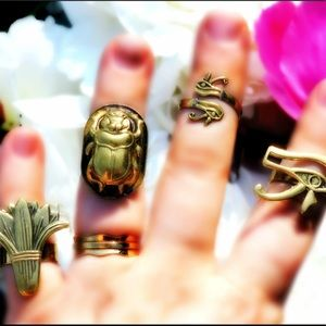 Jewelry - Solid Brass Egyptian 3D Rings Scarab Lotus Udjat