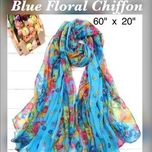 "Accessories - ✨Blue Floral Print Chiffon Scarf, 60"" x 20"""