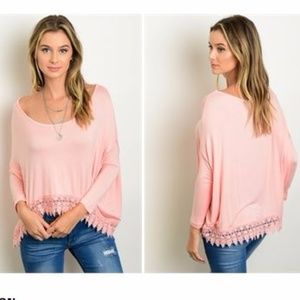 Tops - Pink long sleeve top with crochet hem . MUST GO