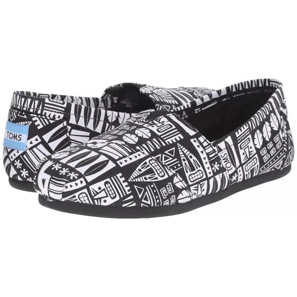 1f238642206 Toms Vegan Black   White Classic Shoe Canvas TIKI.  M 5989b9db8f0fc468b51012ae