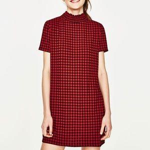 Zara red checked mini jacquard dress