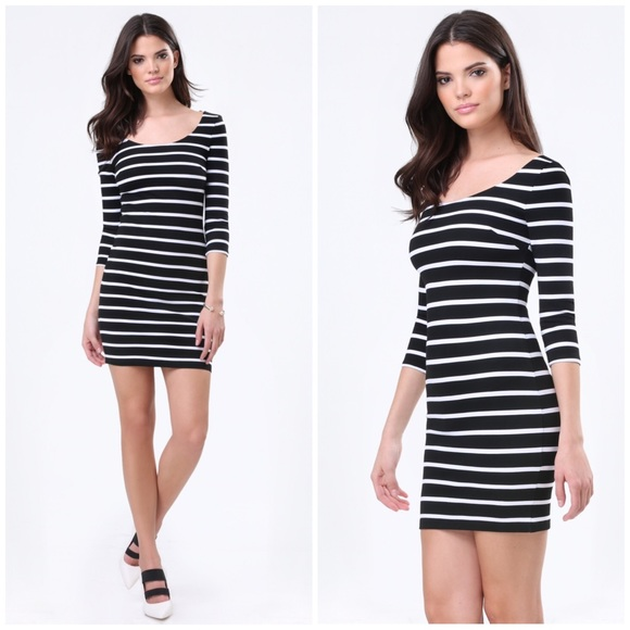 Bebe Dresses Nwot Black And White Striped Bodycon Dress Poshmark