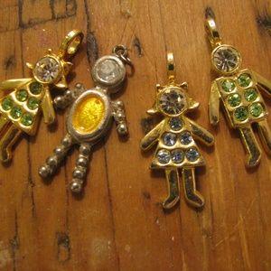 Four sparkly rhinestone family charms