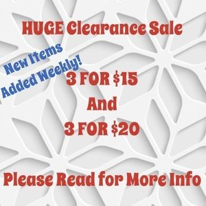 Items listed in Clearance Section