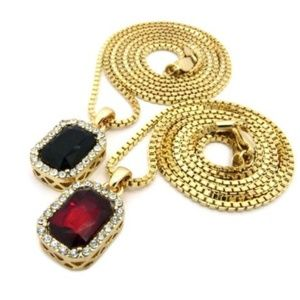 Other - Gold Square Ruby Emerald Pendant Charm Chain Neckl