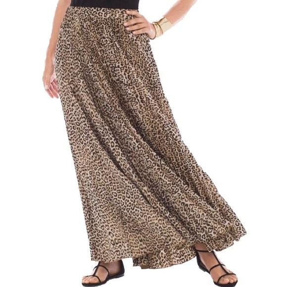 a7f8b63a9f Chico's Dresses & Skirts - Chicos Cheetah Print Accordion Pleated Maxi Skirt
