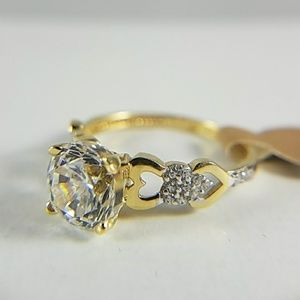 14k Solid Yellow Gold Heart Engagement Ring