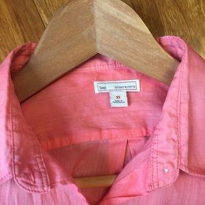 GAP Tops - GAP Linen Blend Button Down Pink Shirt