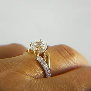 Jewelry - 14k Solid Yellow Gold Engagement Ring 1.25ct Round