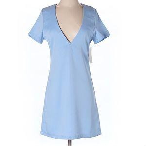 NWT TOBI deep v-neck light blue dress