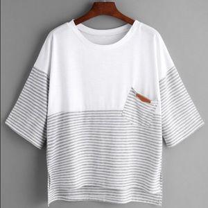 Tops - NWOT white quarter sleeve tshirt grey and white