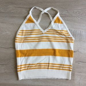 Knitted crop tank top - cream and mustard color