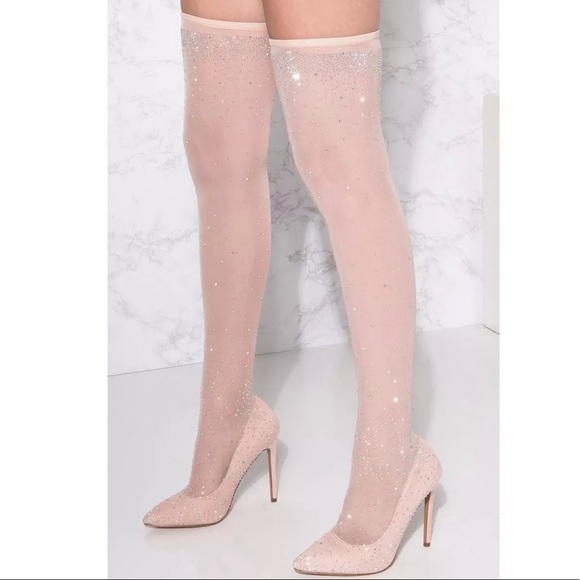 21948e3d89f Diamanté nude rhinestone embellished stocking boot
