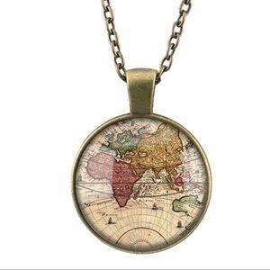 Vintage style bronze world map necklace
